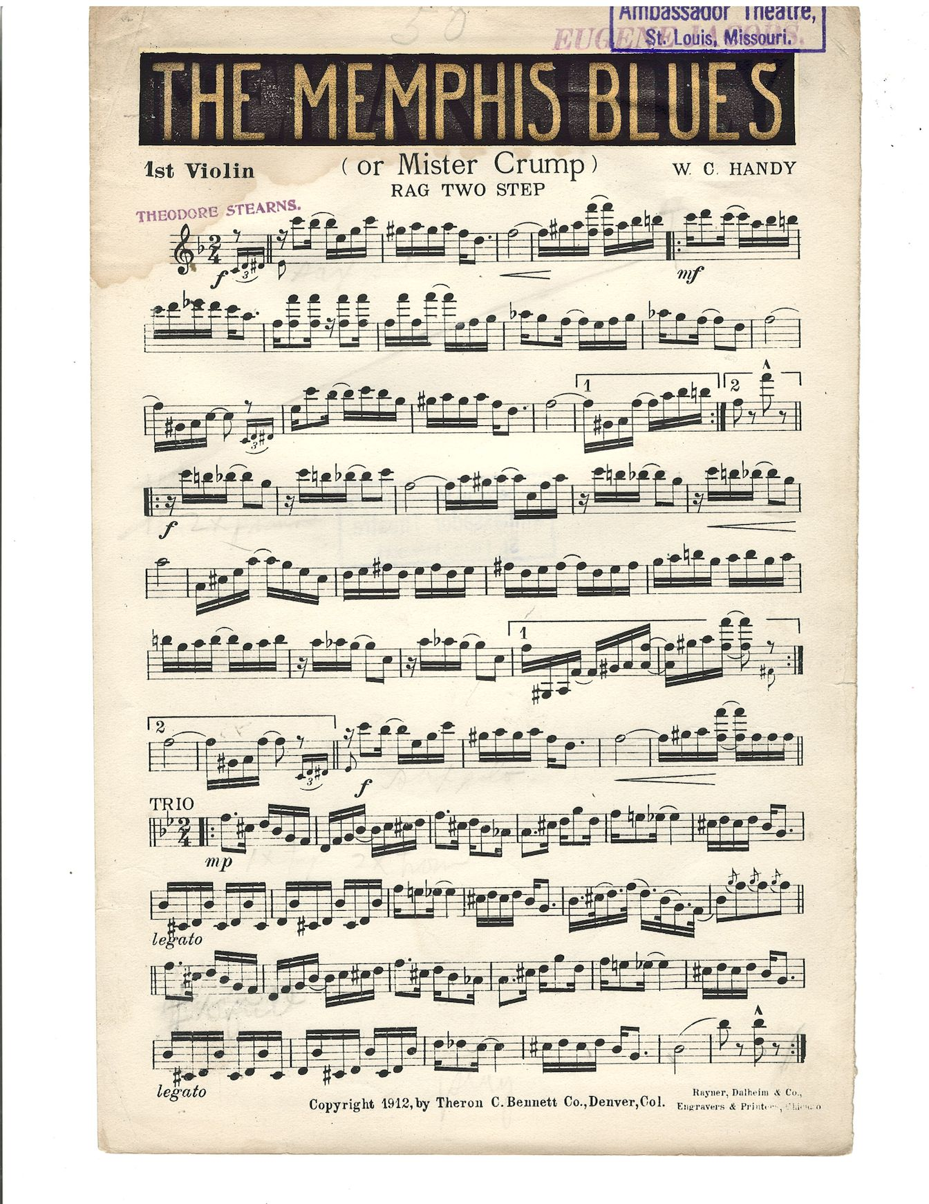 W.C. Handy's 1912 violin part for 'Memphis Blues'