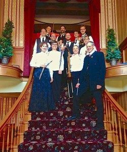 Rick Benjamin and the paragon Ragtime Orchestra on the Grand Staircase of the 1903 Elkader Opera House in Elkader, Iowa.
