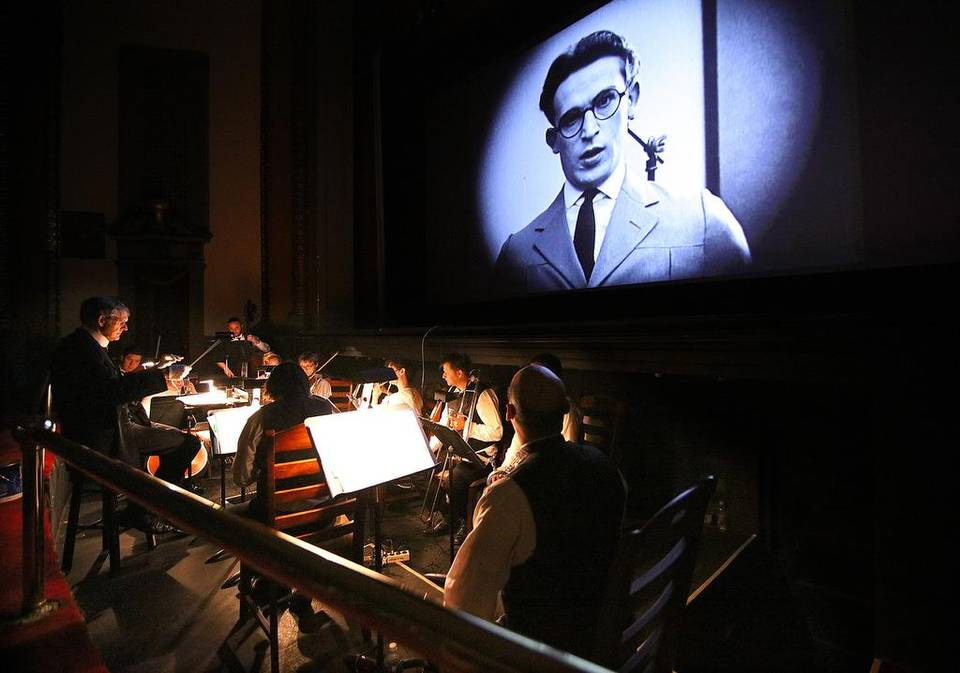Rick Benjamin and the Paragon Ragtime Orchestra accompany silent films at the 1917 Rowland Theatre